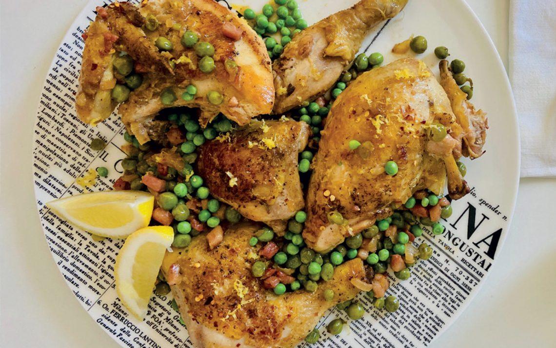 Ricetta Pollo con pelle croccante e piselli